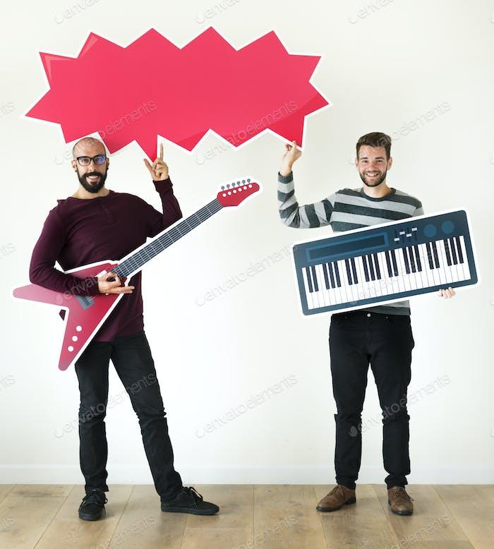 Bearded men enjoying music icons