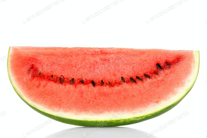 Sweet watermelon slice, front view, over white
