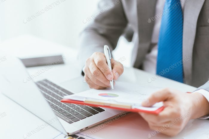 business man hand showing work to approve agreements signs positive work concept
