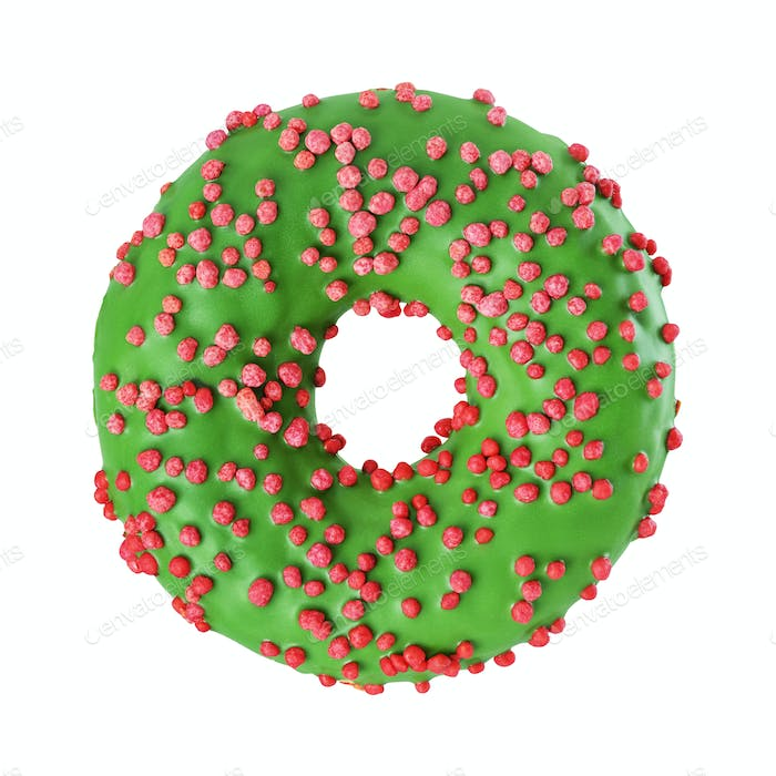 Green glazed donut isolated on white background.