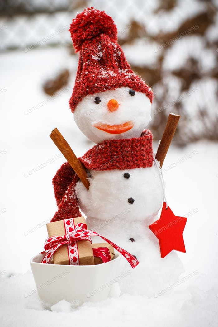 Decorated snowman with gifts for Christmas or Valentine