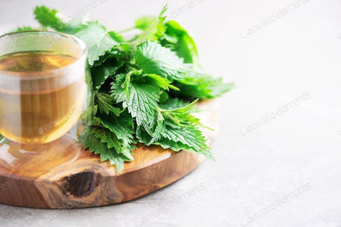 Cup of healthy herbal tea with nettle. Alternative herbal medicine. Stinging nettles, urtica. Skin