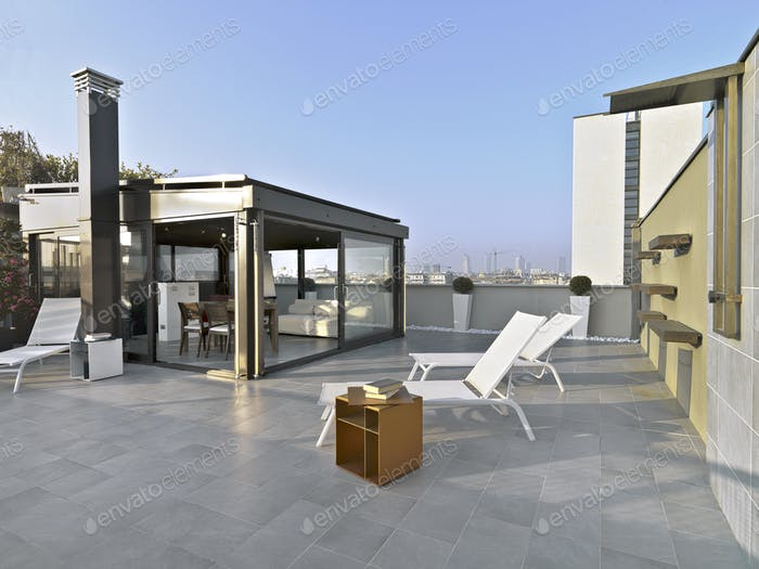 Exteriors Shots of a Terrace with Furniture