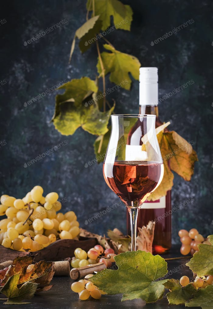 Rose wine at wine tasting concept. Gray background with grape and leaves. Pink wine