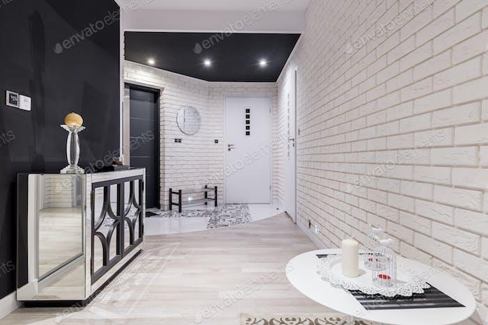 Cozy white hallway