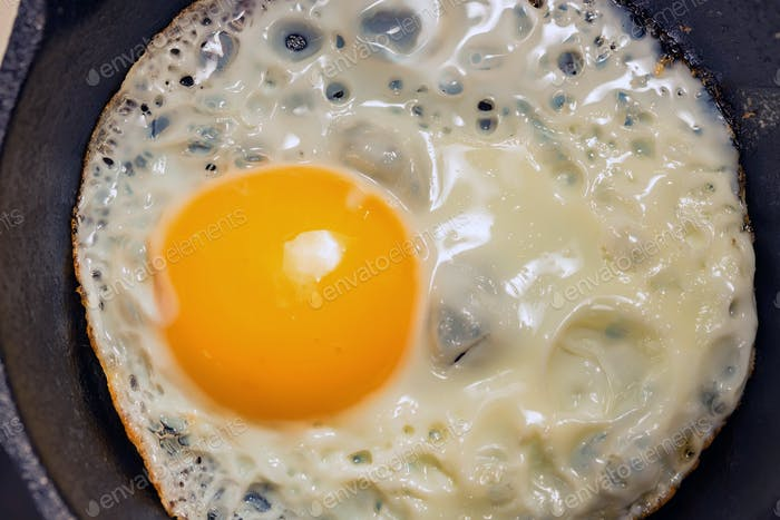 Close-up of fried eggs in a frying pan