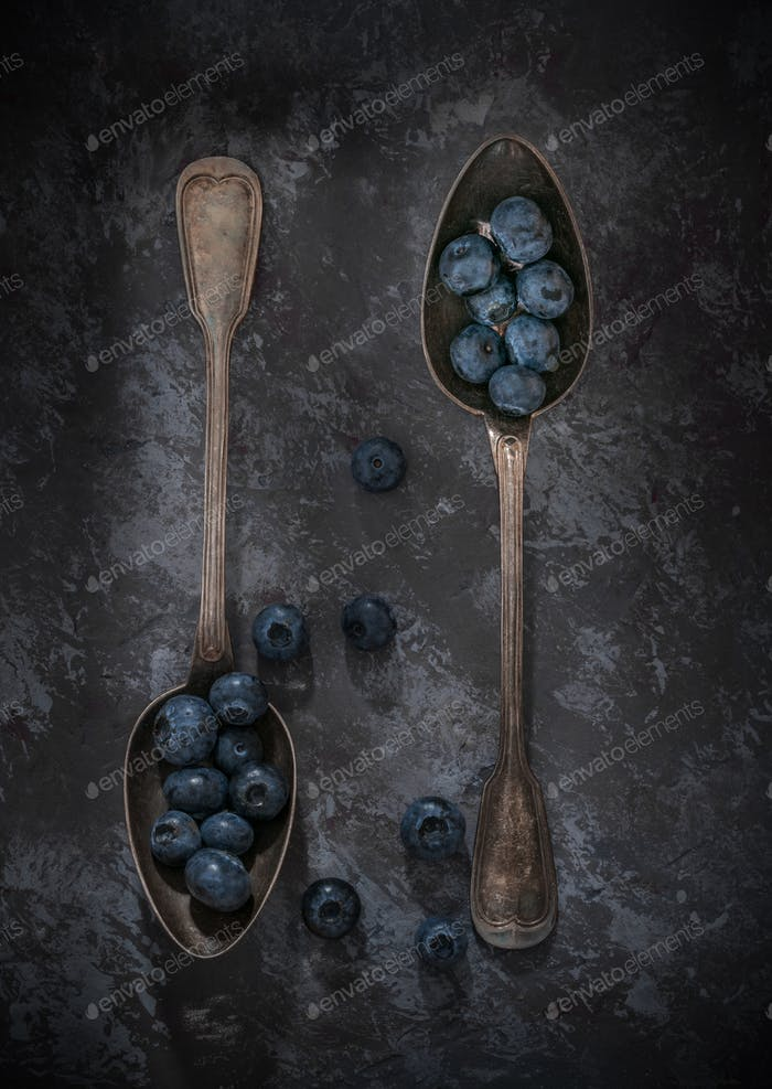Blueberries on Vintage Spoons