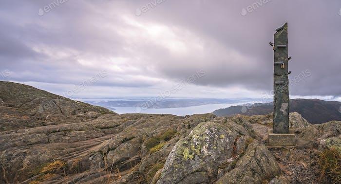 Stone memorial on the summit of Mount Ulriken