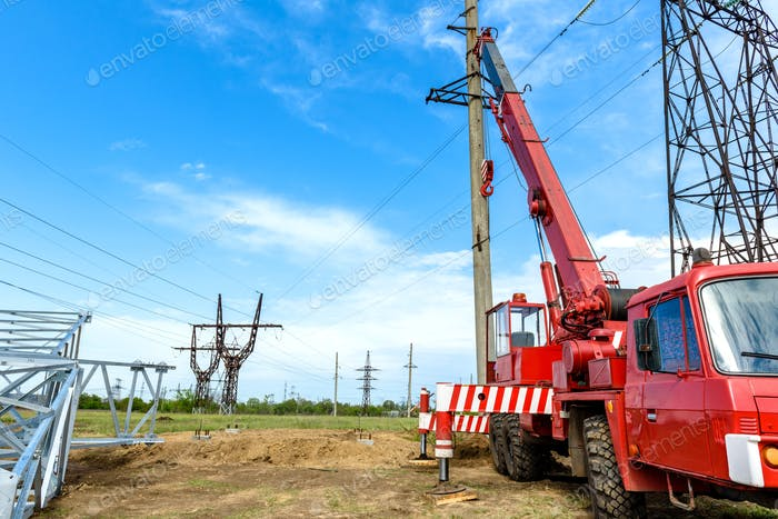 Installation of column for high-voltage electricity line