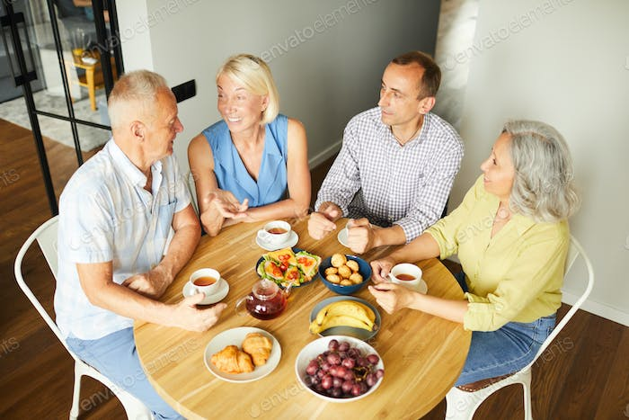 Mature Friends Enjoying Lunch at Home