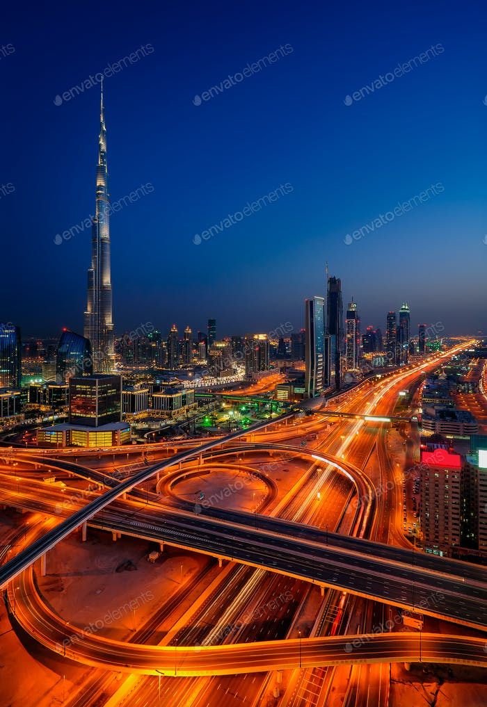 Dubai downtown skyline with tallest skyscrapers and beautiful sky, Dubai, United Arab Emirates