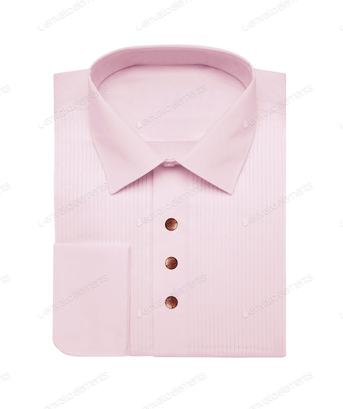 Camisa rosa aislada sobre blanco