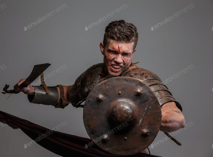 Gladiator in attack position