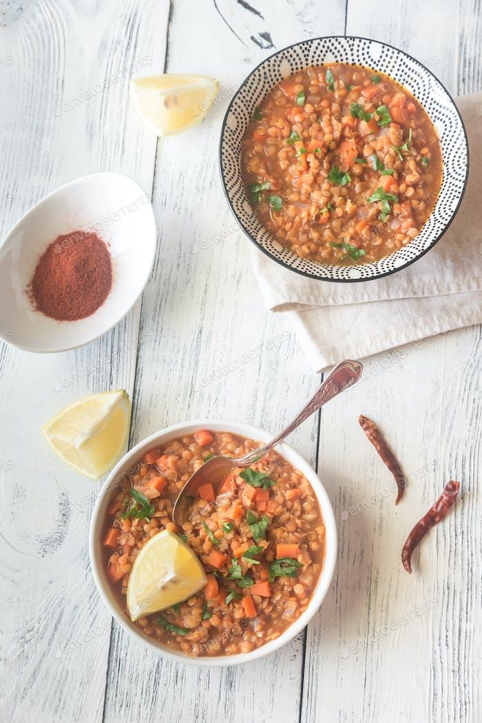 Smoked paprika red lentil stew