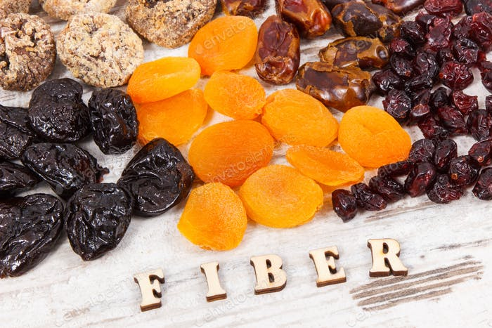 Inscription fiber and ingredients as source natural vitamins and minerals, healthy nutrition concept