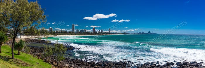 Gold Coast skyline and surfing beach visible from Burleigh Heads