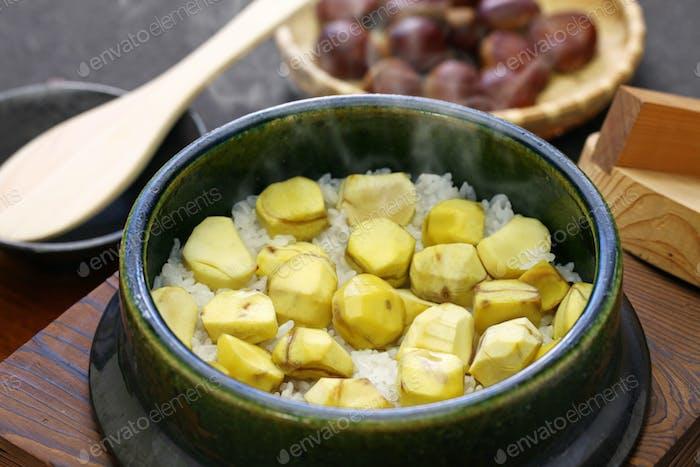 japanese chestnut rice in earthenware pot