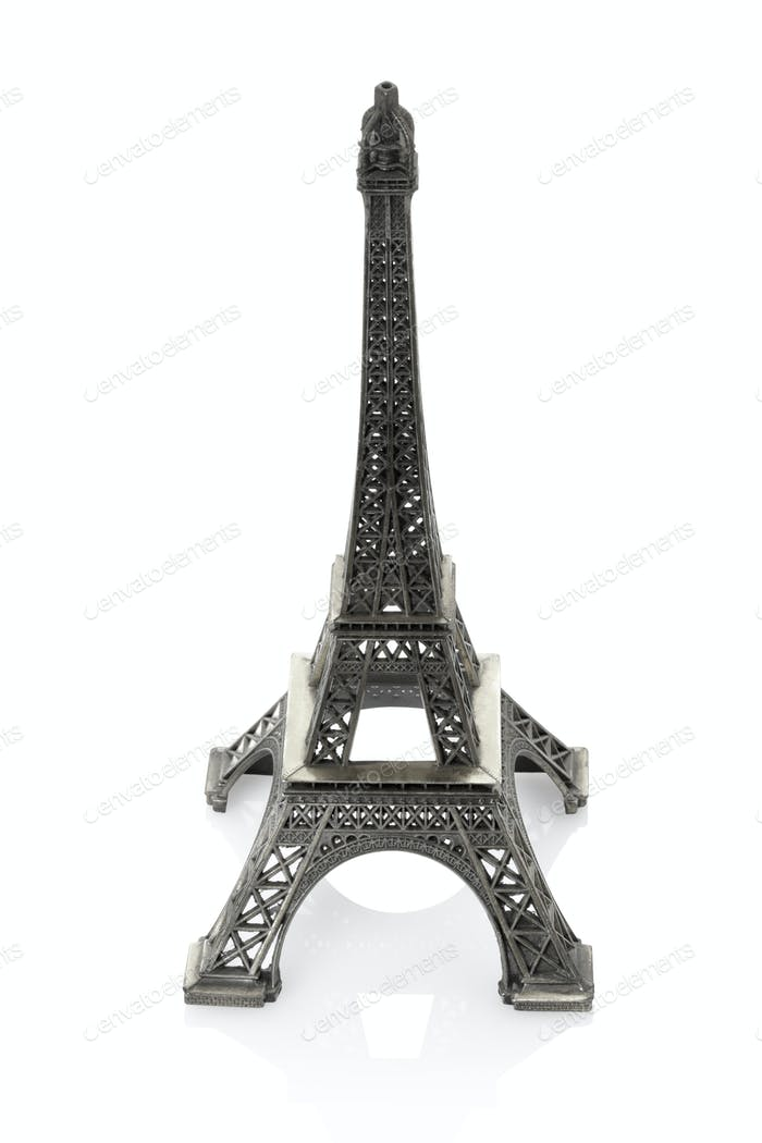 Eiffel tower isolated on white background, clipping path include