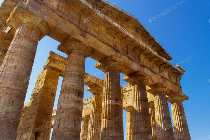 The greek Temple of Neptune in the archaeological site of Paestum