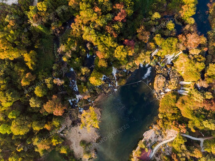 Beautiful Kravica waterfall in Bosnia national park,aerial view
