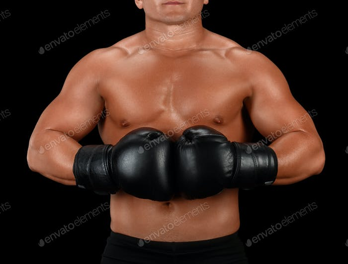 Boxer man athletic body on black background