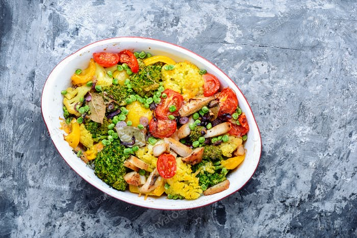 Baked vegetables with chicken breast