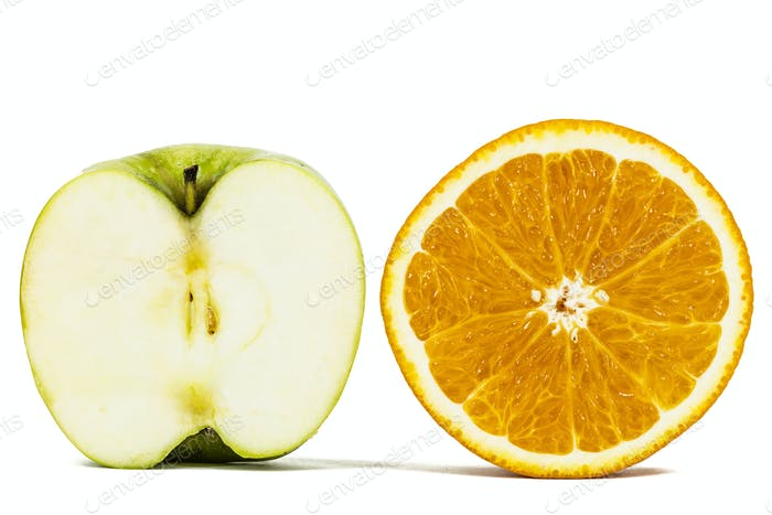 Half of orange and apple, isolated on white background
