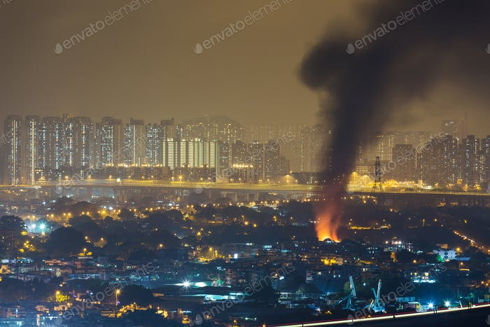 Fire accident with strong smoke