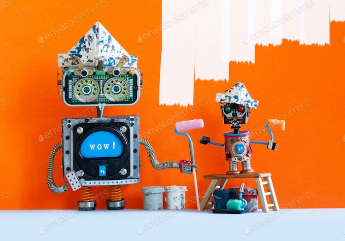 Funny big and small robotic painters decorators with paint rollers. Orange wall room interior.