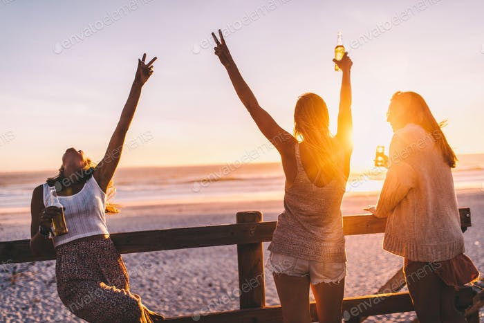 Group of happy friends celebrating with drinks in sunset
