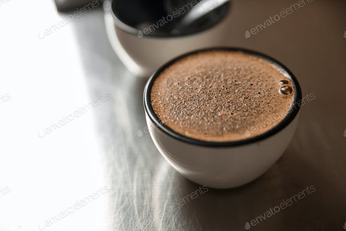 a cup of coffee for testing roasted process
