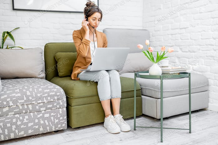 Woman working online from home