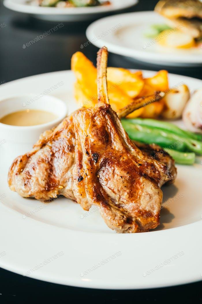 Grilled lamb steaks