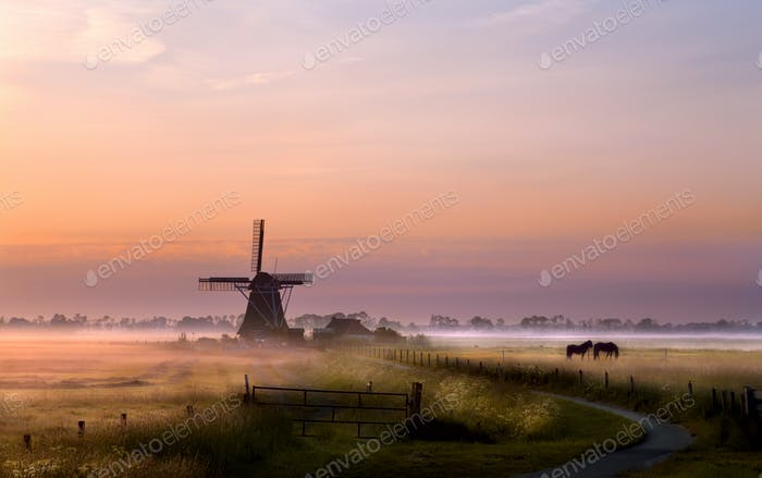 windmill on pasture at sunrise