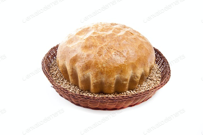 fresh baked roll with grain in a basket