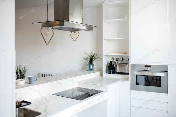 Interior design house and modern white kitchen