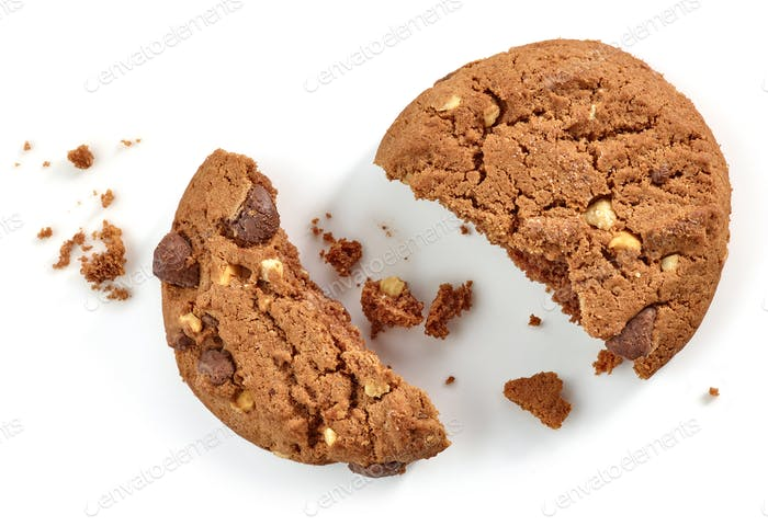 Chocolate cookie pieces and crumbs