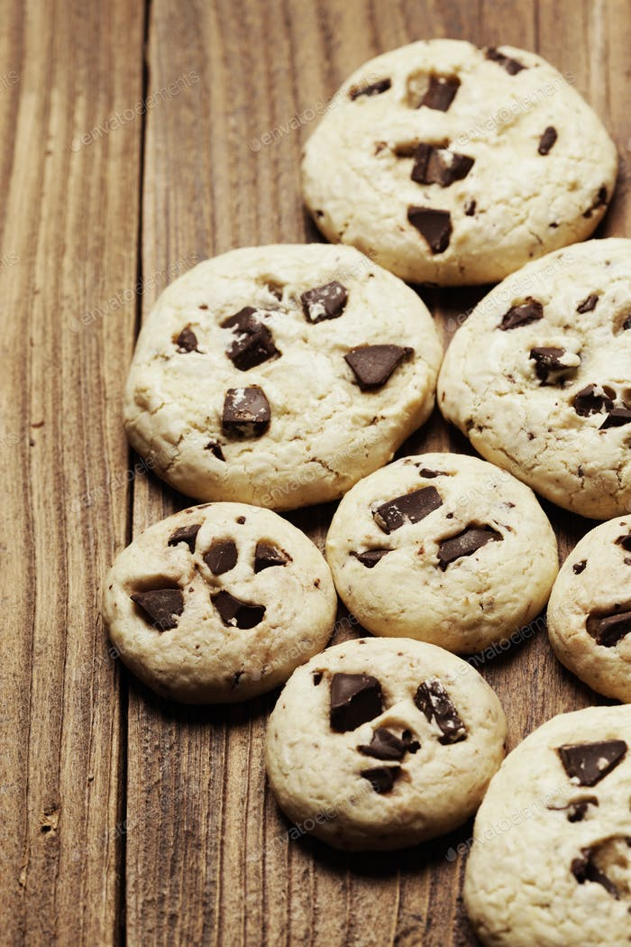 Group of chocolate chip cookies