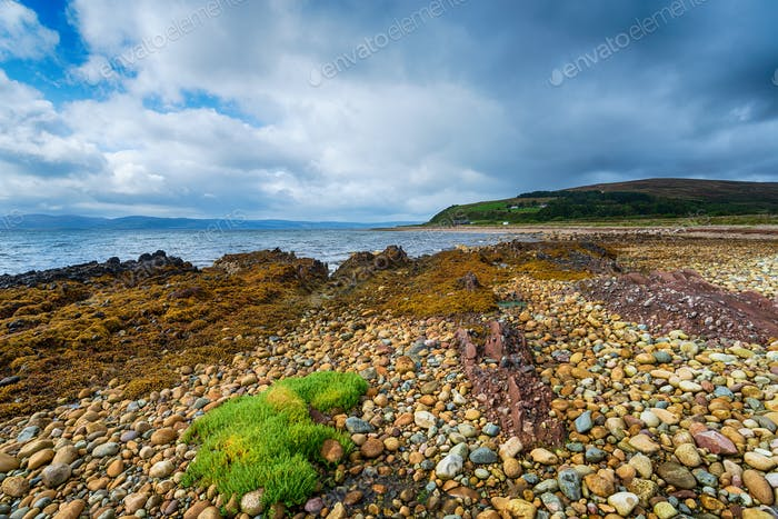 Low tide at the beach at Machrie Bay on the Isle of Arran