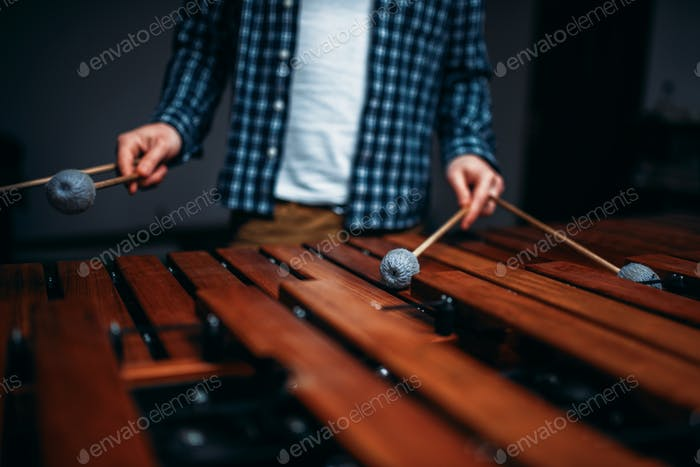 Xylophone player hands with sticks, wooden sounds