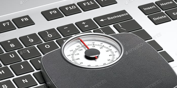 Weight scale analiog on computer keyboard background. 3d illustration
