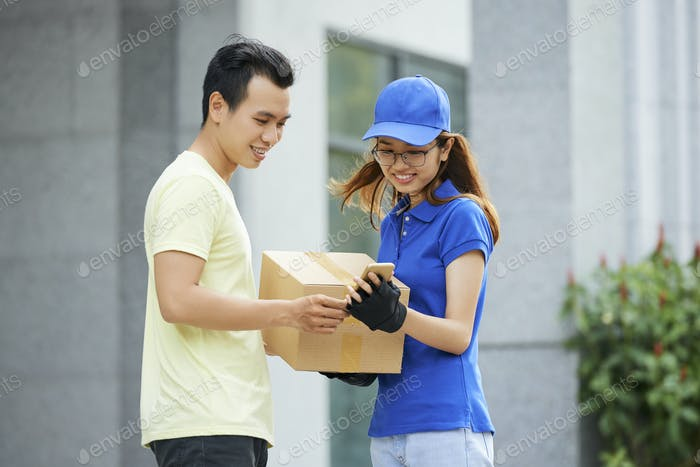 Checking delivery details