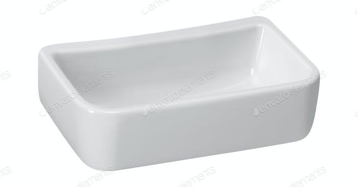 White empty ceramics baking dish on white