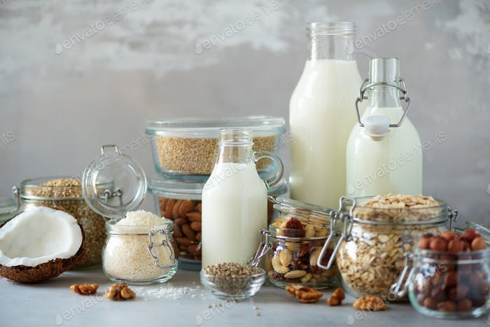Glass bottles of vegan plant milk and almonds, nuts, coconut, hemp seed milk on grey concrete
