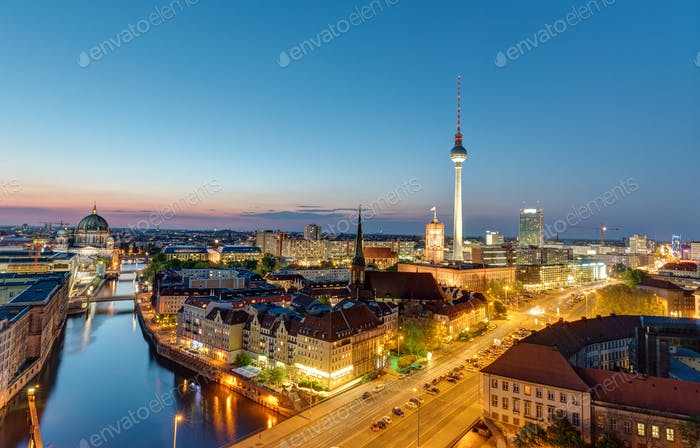 The Berlin skyline at night