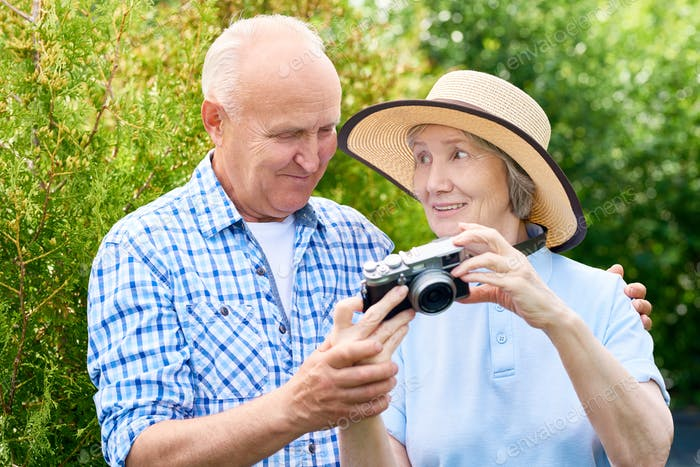 Senior Couple on Family Vacation