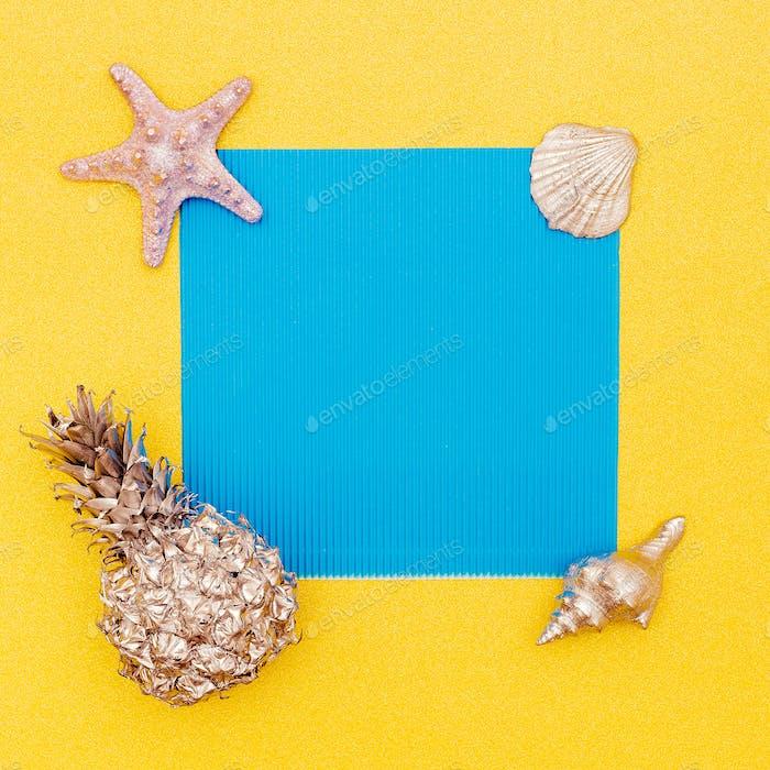 Summer tropical set. Pineapple, Shells. Minimal. Sea vibes