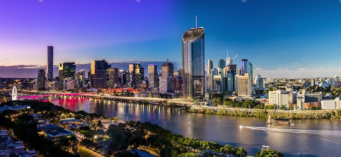 Panoramic day and night areal image of Brisbane CBD and South Ba