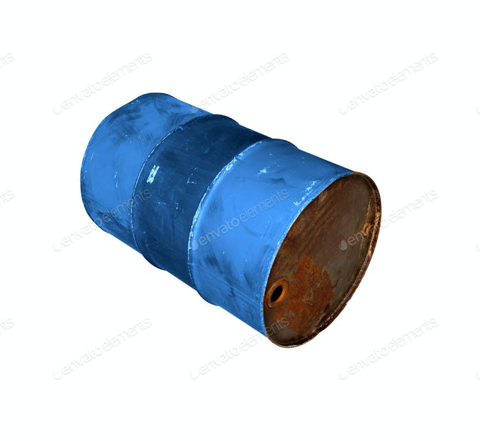 old metal barrel oil isolated on white background