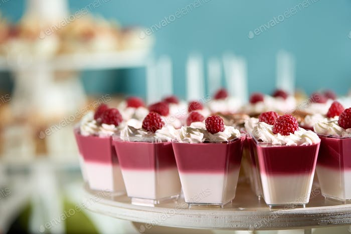 Raspberry souffle with whipped cream